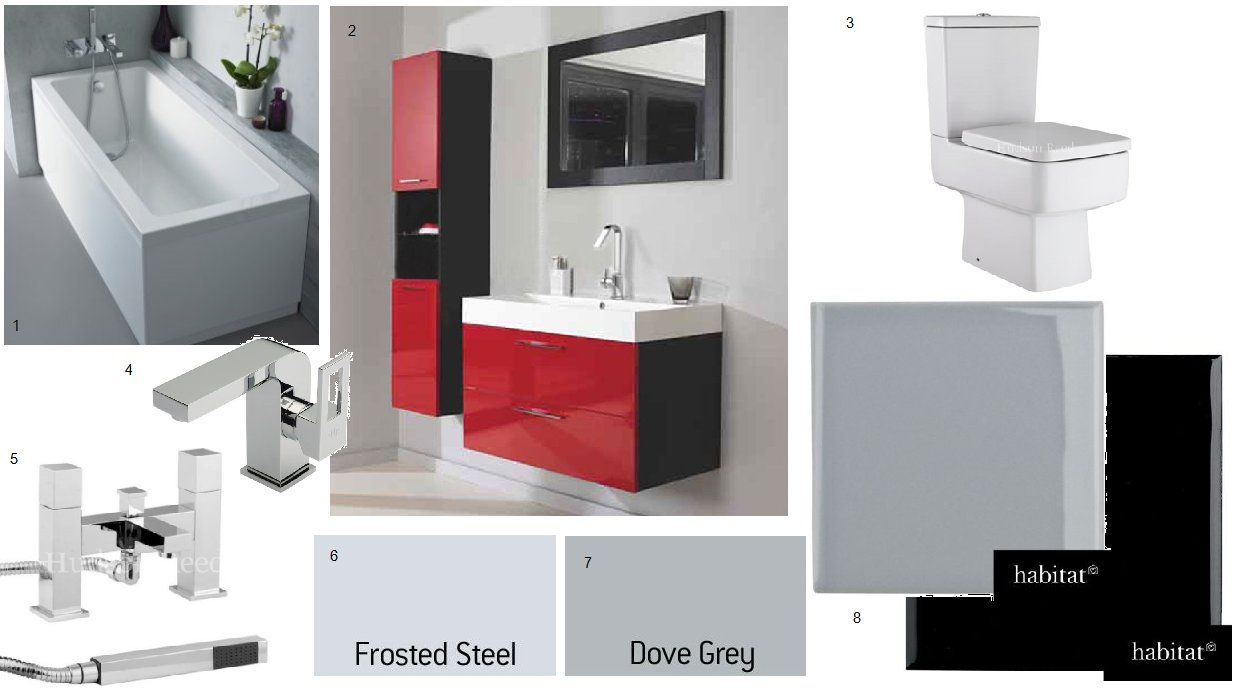 Red bathroom decor wall decor ideas for Red and black bathroom accessories sets